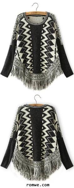 Black White Geometric Print Batwing Tassel Sweater