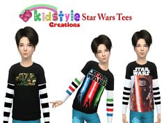 Star Wars Series Boys Tees for TS4 Found in TSR Category 'Sims 4 Male Child Everyday'