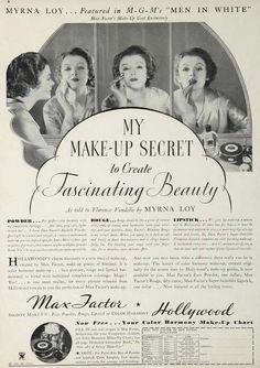 Publicité Vintage - Max Factor - Myrna Loy - 1934
