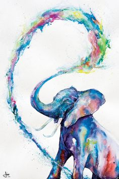 Marc Allante Elephant Art Poster New - Maxi Size 36 x 24 Inch Easy Watercolor, Watercolor Animals, Elephant Watercolor, Tattoo Watercolor, Watercolor Pencil Art, Elephant Poster, Elephant Artwork, Elephant Drawings, Elephant Paintings