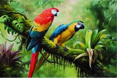 Cheap painting construction, Buy Quality painting red directly from China painting replicas Suppliers: 	P0447 16x 24 Animals Beautiful print QUALITY CANVAS landscape oil painting Parrots wall deco						  							If you