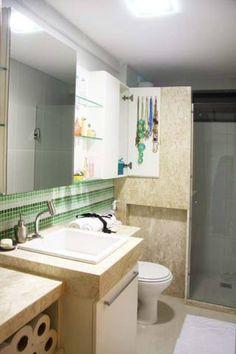 Banheiro de um apartamento, de 60 m². Projeto de Larissa Cesar Vinagre e Suellen Montenegro.