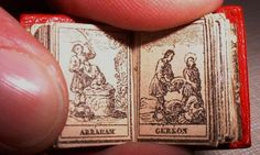 One of the highpoints of 19th century miniature book production was the French title Calendrier de tous les Saints (ca. 1815).  This title consists entirely of engravings depicting a saint for each day of the year: