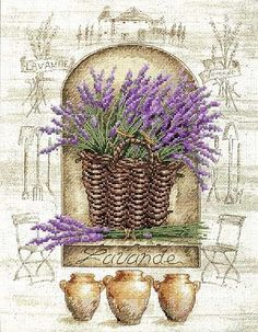 à broder : lavender cross stitch, embroidery Lavender Cottage, French Lavender, Lavender Fields, Lavender Flowers, Lavander, Vintage Diy, Vintage Labels, Vintage Cards, Vintage Images