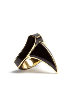 Gold Plated Enamel Claw Ring by DJ By Dominic Jones £65