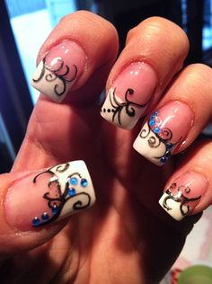 Swirls by – Nail Art Gallery nailartgallery.na … by Nails Magazine w … - Diy Nail Designs Great Nails, Fabulous Nails, Gorgeous Nails, Love Nails, Crazy Nails, French Nails Glitter, Fancy Nails, Diy Nails, Tips & Tricks
