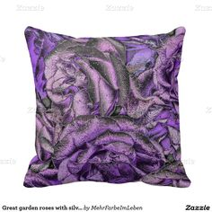 Great garden roses with silverdust throw pillows