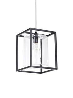 Consisting of a glass cylinder contained by a black rectangular frame, our statement pendant light will add a unique touch to your interior. Crafted from durable powder coated iron and clear glass, it will transform your lighting look. Modern Kitchen Lighting, Kitchen Lighting Fixtures, Kitchen Pendant Lighting, Kitchen Pendants, Farmhouse Lighting, Pendant Lights, Front Door Lighting, Hallway Lighting, Ceiling Fan In Kitchen