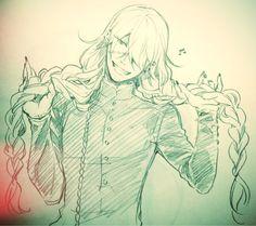 Sketch By Yana Toboso Black Butler Anime, Black Butler 3, Black Butler Undertaker, Anime Guys, Anime Mangas, Manga Anime, Anime Art, Shinigami, Levi Ackerman
