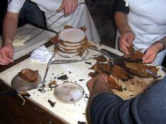 Preparing pattona of lunigiana