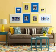 Simple (smaller) frames with yellow and blue mats. Photos of your dream schools and of your favorite beaches.