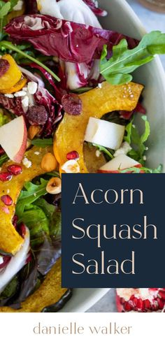 This Roasted Acorn Squash Salad is a comforting dish that highlights the classic flavors of fall! This paleo and gluten-free salad is perfect for lunch or dinner and also makes a festive side for the holidays. Grain Free, Dairy Free, Gluten Free, Main Dishes, Side Dishes, Squash Salad, Roasted Squash, Acorn Squash, Salad Recipes