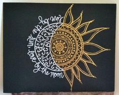 This is a custom, made to order canvas that reads Live by the sun, love by the moon. Pick your own background color, sun and moon color, and any