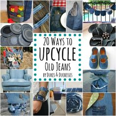 Don't throw out those old jeans! Save them and check out these unique ways to upcycle old jeans into something fabulous!