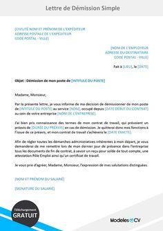 Modèle lettre de démission avec préavis   Lettre de ...