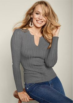 Venus Women's Ribbed Sweater Sweaters - Grey, Size S