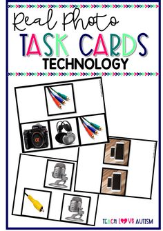 Real Photo Task Cards: Technology - This is a set of 120 #taskcards with real photos or pictures. These have images of #Technology. Working with students with real photos is great for generalization. There are three different levels of difficulty including a set of errorless task cards! These are great for work task boxes, life skills, and even students learning overall. They can be used with clothespins or dry erase markers to choose the answers. #SpecialEducation #WorkTasks #Sped