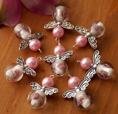 6x Pink Guardian Angel Charms Pendants Lampwork Flower Round Beads Silver Wings