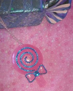 Giant Glittery Pink Lollipop Necklace with by GlamCandyBoutique, $14.00