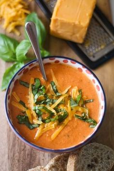 Tomato, Basil, and Cheddar Soup (uses Greek yogurt instead of cream).