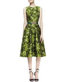 Sleeveless Darted Brocade Dress and Satin Ornament-Buckle Belt
