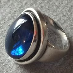 Georg Jensen Sterling Silver Synthetic Sapphire Ring No. 46A by Harald Nielsen