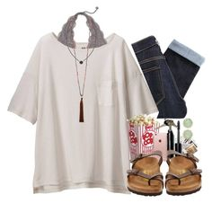 """""""LaLa Land 🎶 #322"""" by sweet-carol ❤ liked on Polyvore featuring Uniqlo, Paige Denim, Chronicle Books, Bobbi Brown Cosmetics, Birkenstock, Incase, Kendra Scott, Avon and French Connection"""