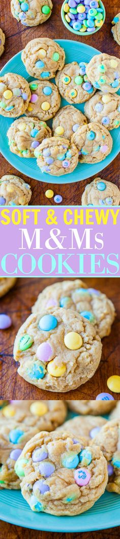 Soft and Chewy MMs - Super soft, chewy, buttery MM cookies that totally are irresistible! Loaded with MMs and perfect for springtime, Easter, Mothers Day and more! Visit Us To Know Easter Snacks, Easter Recipes, Holiday Recipes, Easter Treats, Easter Deserts, Easter Dishes, Easter Food, Easter Table, Holiday Foods
