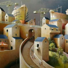 day of harvesting - Michiel Schrijver (Dutch, born 1957, Surreal architecture painter, acrylic on canvas).