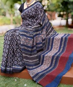 Elegant Cotton Saree With Kutch Ajrakh Block Printing