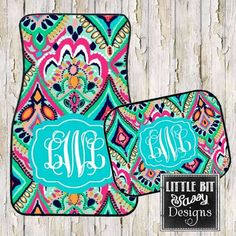 Initials ABN (first, middle, last) Does the inside of your car need a little fun and pizzazz? Get some monogrammed car mats with your favorite colors and design. Makes a great gift