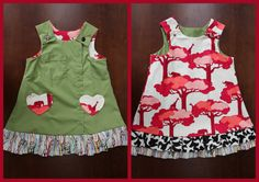 Green and Pink Safari Reversible Isabelle Dress by MsPressersDresses