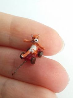 Super cute Teddy Bear toy in retro style - Micro miniature. OOAK