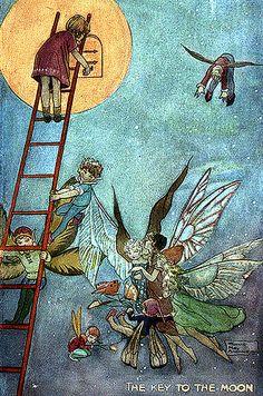 Vintage Fairy Postcard Illustration--Stairway to Heaven
