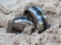 Soundwave Tungsten Rings Couples Matching Bands Waveform Jewelry Silver, Gold, or Rose Gold Tungsten Color Great Promise or Wedding Rings by RogueRiverJewelry on Etsy https://www.etsy.com/listing/191295959/soundwave-tungsten-rings-couples