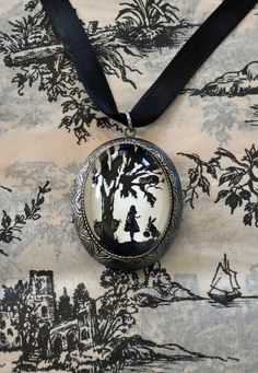 Alice in Wonderland Locket Necklace  locket pendant by tinatarnoff, $45.00