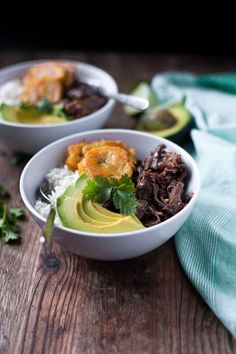 These slow-cooker Cuban short ribs are rubbed with an irresistible mojo, cooked to fall-apart perfection, and then served with fried green plantains, rice, and avocado. Pork Recipes, Real Food Recipes, Vegetarian Recipes, Healthy Recipes, Potato Recipes, Chicken Recipes, Primal Recipes, Paleo Meals, Mexican Recipes