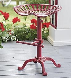 Vintage Iron Tractor Seat Adjustable Stool - perfect to keep under the breakfast bar and to use when I need to sit while cooking. Plow & Hearth $149