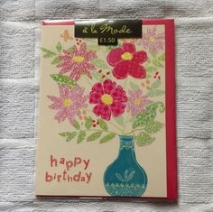 Birthday Card - Vase of Sparkly Flowers - a la Mode (8)