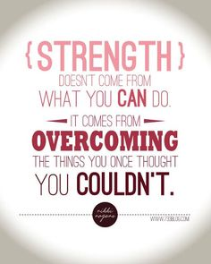 My Word for 2014 with Free Printable - Strength doesn't come from what you can do. It comes from overcoming the things you once though you couldn't. Empowering Quotes
