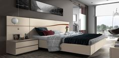 Composition 512 Bedroom Set in American Walnut and Matt Sand Lacquer Finish, Made in Spain