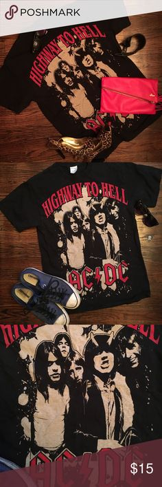 AC/DC Highway to Hell T-shirt Highway to Hell AC/DC T-shirt - Men or women can both rock this bad boy! It's an adult Medium. Tops Tees - Short Sleeve