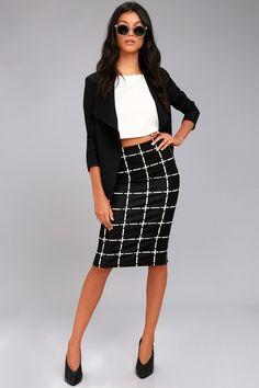 Strike a Pose Black and White Grid Print Pencil Skirt 3
