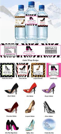 Stiletto High Heel Shoe Water Bottle Labels