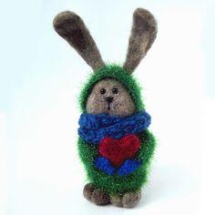 Валяный кролик на День святого Валентина