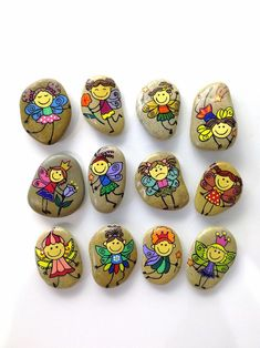 Little funny tooth fairies, Gift for girl, Hand painted pebble, Natural beauty Tooth Fairy Receipt, Tooth Fairy Doors, Pebble Painting, Pebble Art, Stone Painting, Rock Painting Patterns, Rock Painting Designs, Stone Drawing, Tooth Fairy Certificate