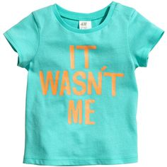 T-shirt with Printed Text $3.95 ($3.95) ❤ liked on Polyvore featuring tops, t-shirts, babies., baby, snap tee, one shoulder t shirt, one shoulder tops, off one shoulder tops and h&m tops