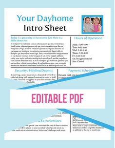 daycare form, daytime form, Editable, Daytime, Childcare, Intro Sheet, home daycare, business form, daycare newsletter, daycare handbook