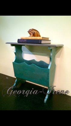 1960s Newspaper Table. Refinished in pearl blue and grey. SOLD