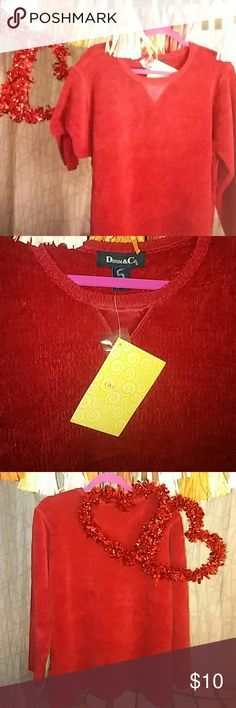 Denim & Co. RED Sweater 1X NWT QVC Size 1X Gorgeous super soft acrylic sweater Perfect for a romantic Valentine's Day denim & co Sweaters Crew & Scoop Necks